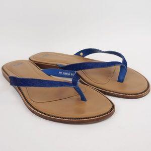 UGG Allaria Thong Sandal Flip Flops Blue Calf Hair
